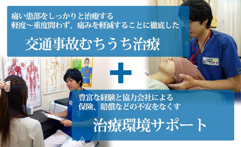 交通事故むち打ち治療+治療環境サポート